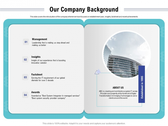 Cloud Managed Services Pricing Guide Our Company Background Ppt Inspiration Design Ideas PDF