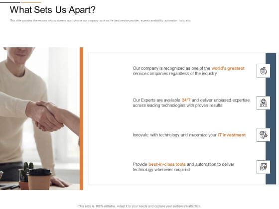 Cloud Services Best Practices Marketing Plan Agenda What Sets Us Apart Mockup PDF