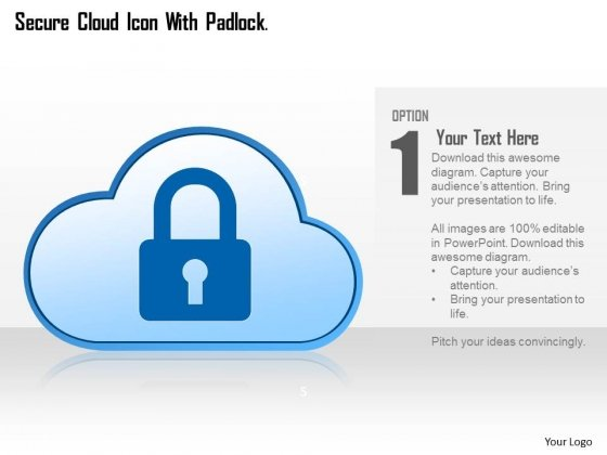 Cloud With Lock For Cloud Technology Powerpoint Template