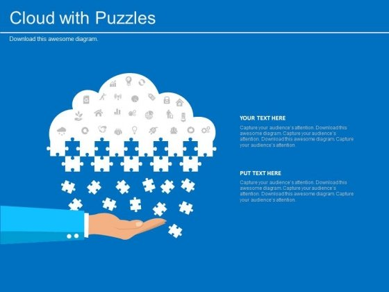 cloud with puzzle and icons for technology solution powerpoint, Modern powerpoint