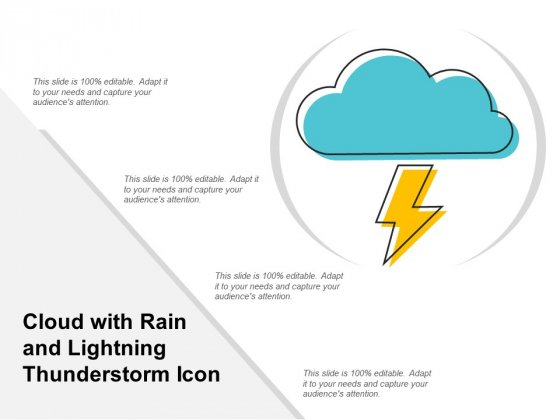 Cloud With Rain And Lightning Thunderstorm Icon Ppt Powerpoint Presentation Layouts Samples