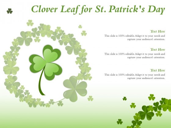 Clover Leaf For St Patricks Day Ppt PowerPoint Presentation Summary Slideshow