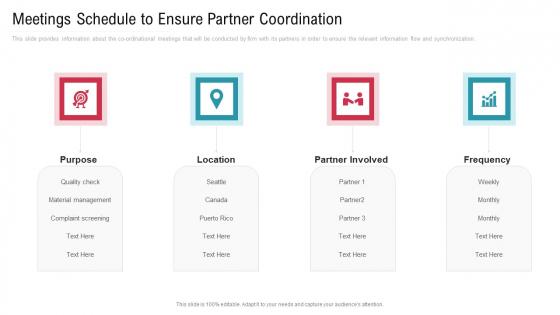 Co Variety Advertisement Meetings Schedule To Ensure Partner Coordination Slides PDF