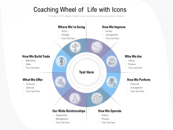 Coaching Wheel Of Life With Icons Ppt PowerPoint Presentation Pictures Example Introduction PDF