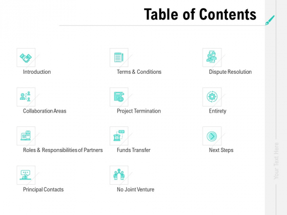 Collaboration Agreement Table Of Contents Ppt Gallery Vector PDF