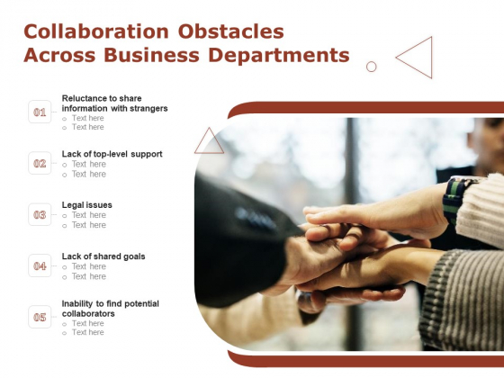 Collaboration Obstacles Across Business Departments Ppt PowerPoint Presentation Gallery Brochure PDF