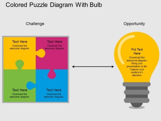 Colored Puzzle Diagram With Bulb Powerpoint Template