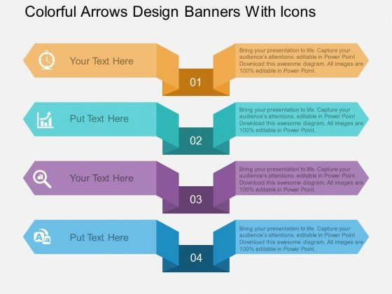 Colorful Arrows Design Banners With Icons Powerpoint Template