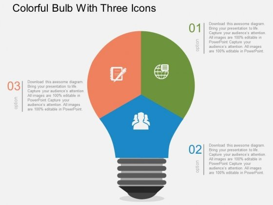 Colorful Bulb With Three Icons Powerpoint Templates