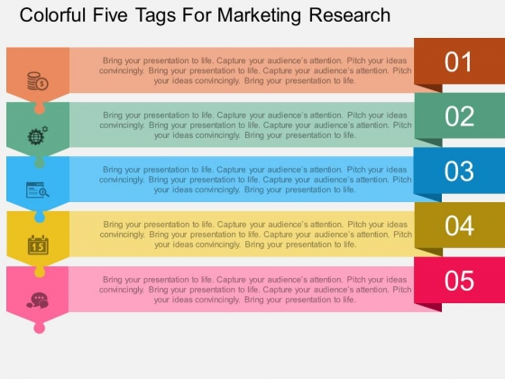 Colorful Five Tags For Marketing Research Powerpoint Template