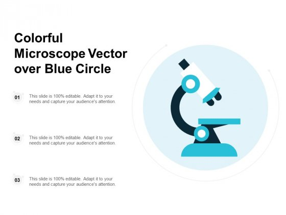 Colorful Microscope Vector Over Blue Circle Ppt PowerPoint Presentation Icon Layouts