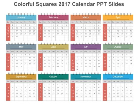 Colorful Squares 2017 Calendar Ppt Slides
