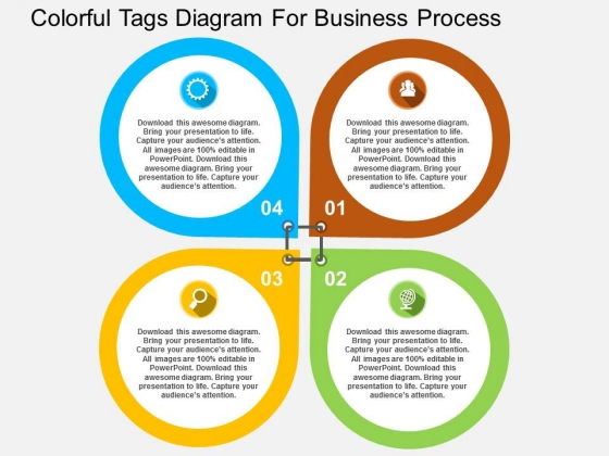 Colorful Tags Diagram For Business Process Powerpoint Templates