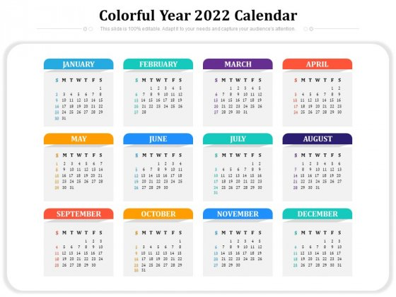 2022 2023 Calendar.Colorful Year 2022 Calendar Ppt Powerpoint Presentation Gallery Pictures Pdf Powerpoint Templates