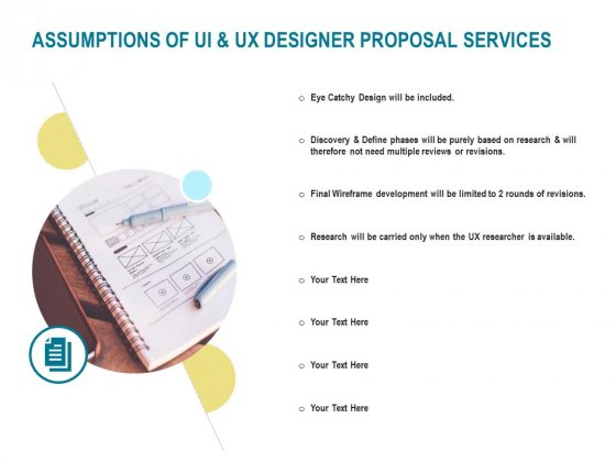 Command Line Interface Assumptions Of UI And UX Designer Proposal Services Ppt Inspiration Smartart PDF