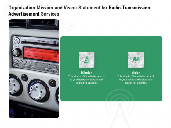 Commercial Broadcasting Organization Mission And Vision Statement For Radio Transmission Advertisement Services Summary PDF