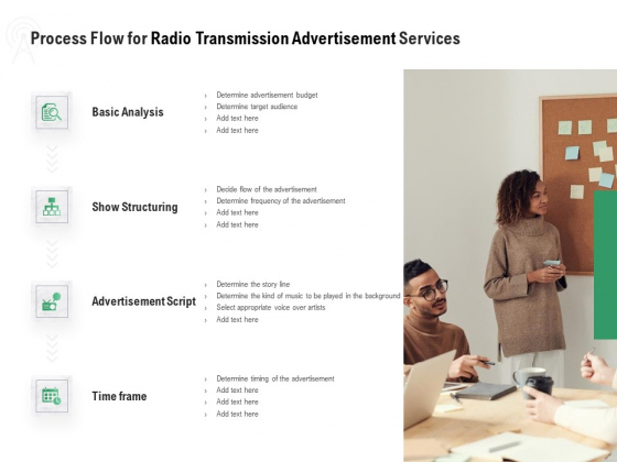 Commercial Broadcasting Process Flow For Radio Transmission Advertisement Services Clipart PDF
