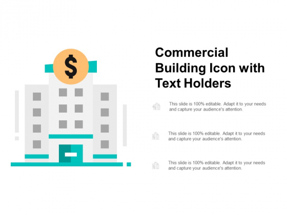 Commercial Building Icon With Text Holders Ppt PowerPoint Presentation Outline Gridlines