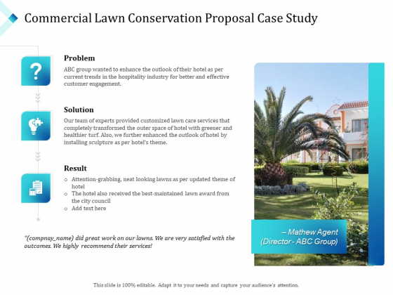 Commercial Lawn Conservation Proposal Case Study Ppt Pictures Icon PDF