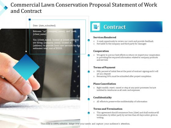 Commercial Lawn Conservation Proposal Statement Of Work And Contract Ppt Visual Aids Pictures PDF