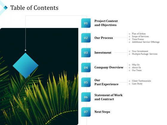 Commercial Lawn Conservation Proposal Table Of Contents Ppt Styles Design Inspiration PDF