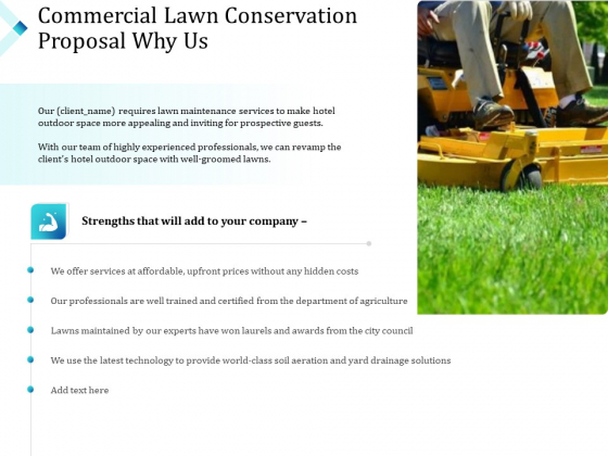 Commercial Lawn Conservation Proposal Why Us Ppt File Graphics Example PDF