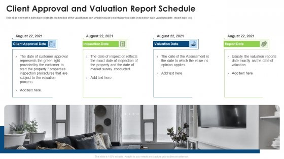 Commercial Property Evaluation Techniques Client Approval And Valuation Report Schedule Diagrams PDF