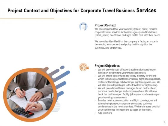Commercial Travel And Leisure Commerce Project Context And Objectives For Corporate Travel Business Services Demonstration PDF