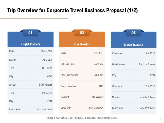 Commercial Travel And Leisure Commerce Trip Overview For Corporate Travel Business Proposal Location Mockup PDF