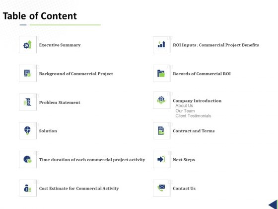 Commercial Undertaking Table Of Content Ppt Infographics Slides PDF