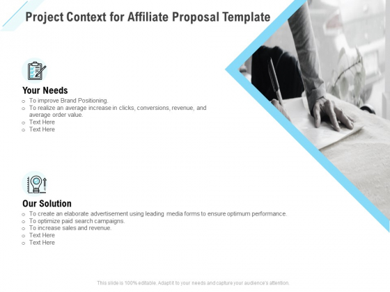 Commission Based Marketing Project Context For Affiliate Proposal Ppt Pictures Design Ideas PDF