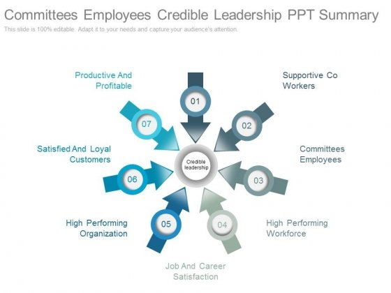 Committees Employees Credible Leadership Ppt Summary