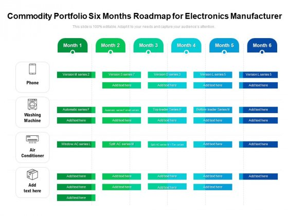 Commodity Portfolio Six Months Roadmap For Electronics Manufacturer Professional