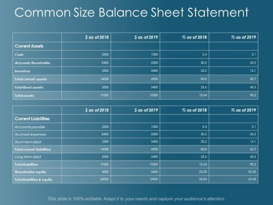 Common Size Balance Sheet Statement Ppt Powerpoint Presentation Inspiration Slides