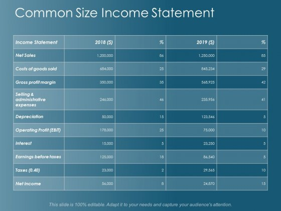 Common Size Income Statement Ppt Powerpoint Presentation Inspiration Picture