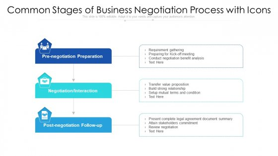 Common Stages Of Business Negotiation Process With Icons Template PDF