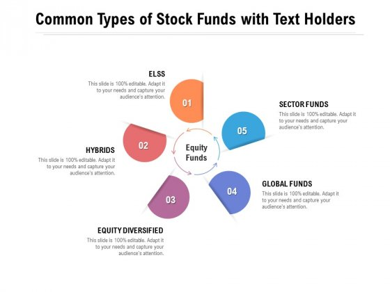 Common Types Of Stock Funds With Text Holders Ppt PowerPoint Presentation Ideas Example File
