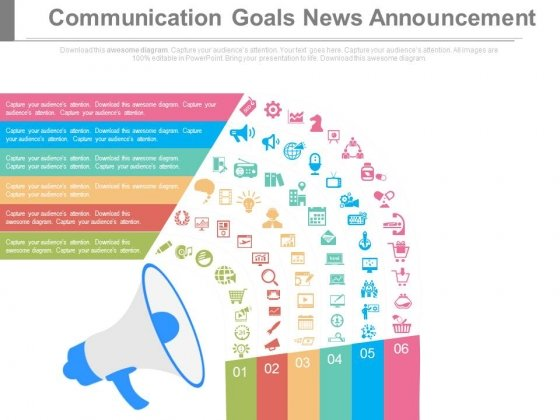 Communication Goals News Announcement Ppt Slides