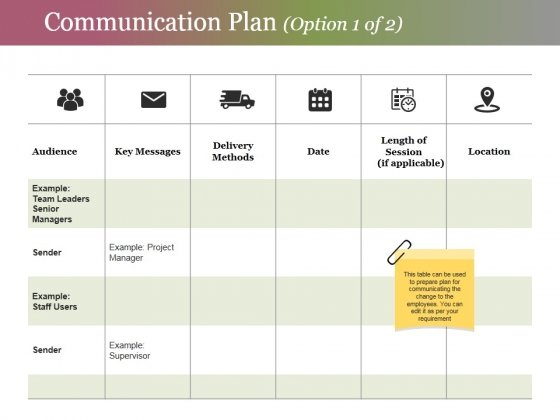 Communication Plan Template 1 Ppt PowerPoint Presentation Portfolio Templates