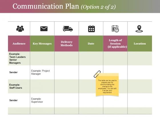 Communication Plan Template 2 Ppt Powerpoint Presentation