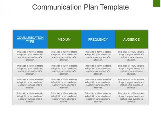 Communication Plan Template Ppt Powerpoint Presentation Portfolio