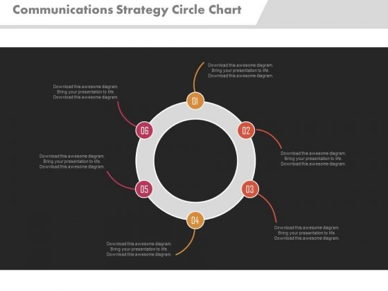 Communications Strategy Circle Chart Ppt Slides