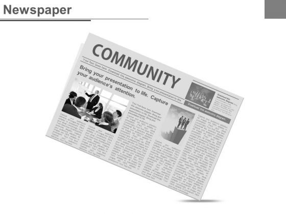 Community Page In News Paper Design Powerpoint Slides