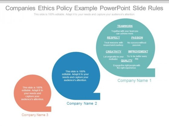 Companies Ethics Policy Example Powerpoint Slide Rules