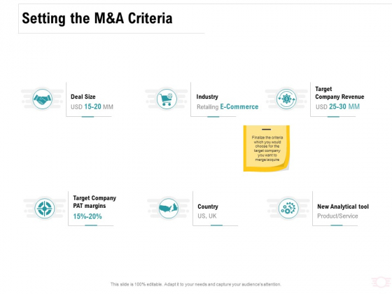 Company Amalgamation Setting The M And A Criteria Ppt Gallery Graphics Template PDF