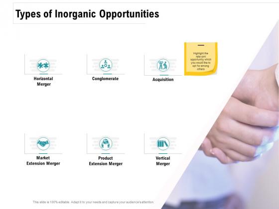 Company Amalgamation Types Of Inorganic Opportunities Merger Ppt Infographics Ideas PDF