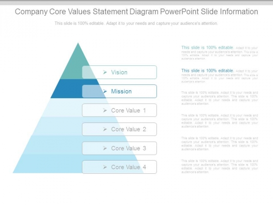 Company Core Values Statement Diagram Powerpoint Slide Information