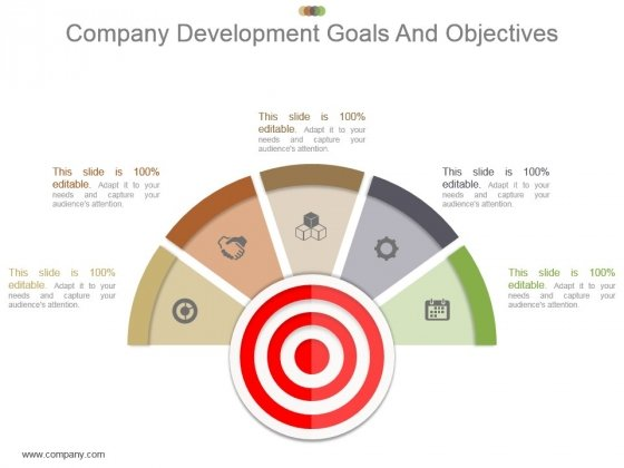 Company Development Goals And Objectives Powerpoint Shapes