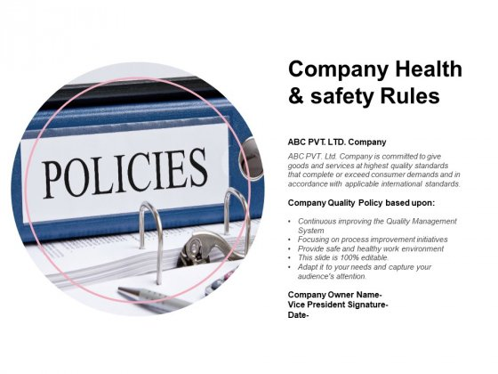 Company Health And Safety Rules Ppt PowerPoint Presentation Infographic Template
