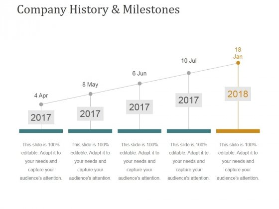 Company History And Milestones Template 2 Ppt PowerPoint Presentation Pictures Graphics Download
